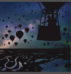 Lovers in balloon at night vector