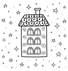 Magic coloring page with ornamental house in vector