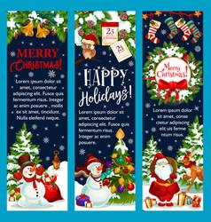 Merry christmas santa gift greeting banner vector