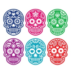 Mexican sugar skull dia de los muertos color icon vector