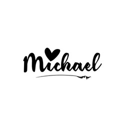 Michael name text word with love heart hand vector