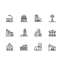 modern city building icon symbols set contains vector image