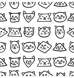 Monochrome seamless pattern with cat faces on vector