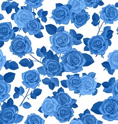 monochrome seamless texture with blue roses vector image