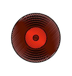 music vinyl disk vintage cartoon vector image