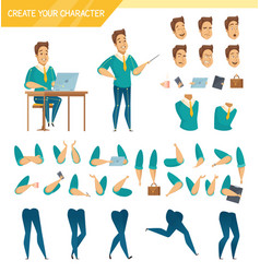 Office worker constructor cartoon set vector