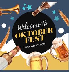 Oktoberfest frame with trumpet beer barley vector