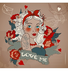 Old-school styled tattoo woman with flowers vector
