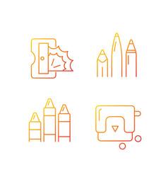 painter essentials gradient linear icons set vector image