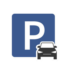 parking zone icon with car symbol top view vector image