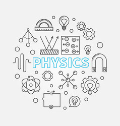 Physics round education outline vector