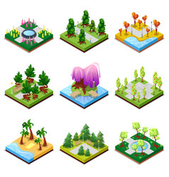 Public park landscapes isometric 3d set vector