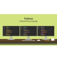 python programming language with vector image