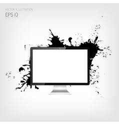 Realistic detalized flat monitor with abstract vector
