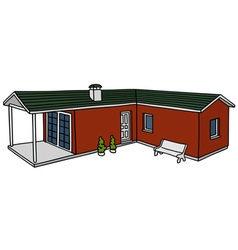 Red low house vector image