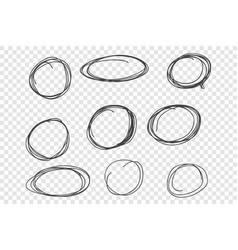 round chaotic scribble frames set vector image