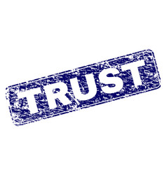Scratched trust framed rounded rectangle stamp vector