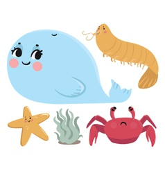 Sea Animals Collection vector image