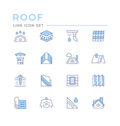 Set color line icons roof vector
