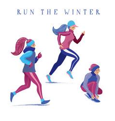 set of girls women running jogging in winter vector image