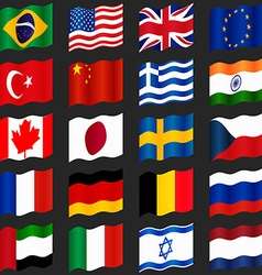 Set of popular country flags Waving flags vector image