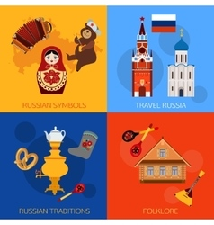 Set of Russia travel compositions with place for vector image