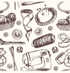 Sewing accessories - hand drawn seamless pattern vector