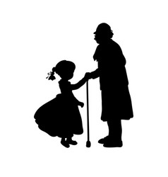 Silhouette girl cares helps grandmother vector
