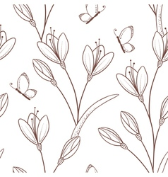 Sketchy seamless pattern with flowers and vector