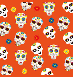 skull mask and flowers background to day of the vector image