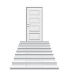 Straight stairway leading to closed door vector