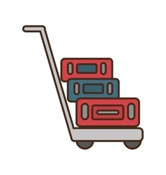 Suitcases transport cart isolated icon vector