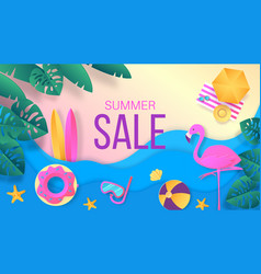 summer sale paper cut travel and vacation vector image