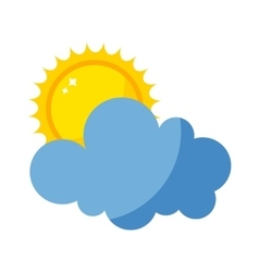 sun and cloud icon isolated vector image