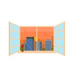sunrise or sunset time urban landscape in window vector image
