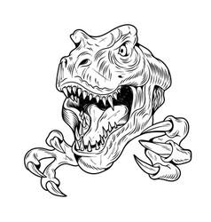 T-rex tyrannosaurus rex big dangerous head dino vector