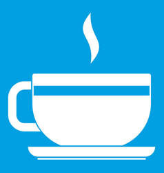 tea cup and saucer icon white vector image