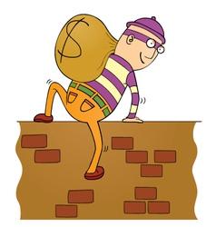 Thief climbing wall vector image