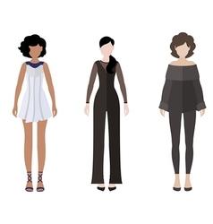 Three women flat style icon people figures vector image