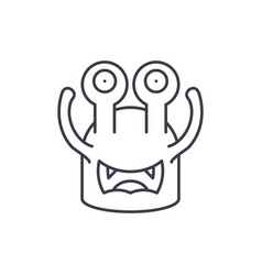 toothy cast line icon concept toothy cast vector image