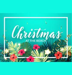 Tropical christmas on beach design vector