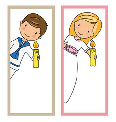Two cards of first communion girl and boy vector