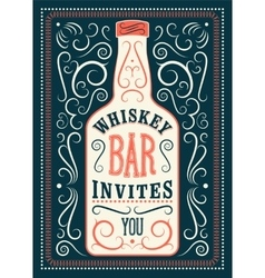 Typographic retro design Whiskey Bar poster vector image