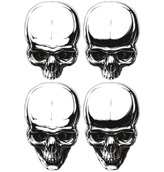 White and black human skull tattoo set vector image