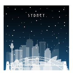 Winter night in sydney night city in flat style vector