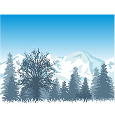 Winter wood and mountains vector