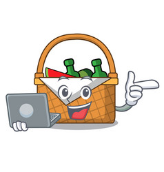 With laptop picnic basket character cartoon vector