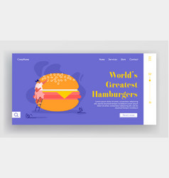 woman character with fastfood website people vector image