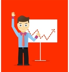 Young businessmen presentation white board vector