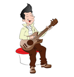 Young guitarist vector